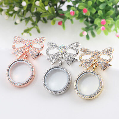 Lady Alloy Butterfly Brooch Crystal Photo Frame Pendant Floating Locket - Butterfly Crystal Frames