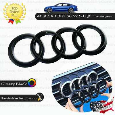 AUDI Front Grille Ring Emblem Cover Glossy Black Badge Logo A6 A7 A8 S6 S7 RS7