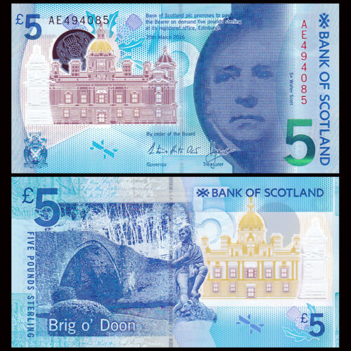 Scotland 5 pounds, 2015/2016, P-New, Polymer, New Design, Banknote, UNC