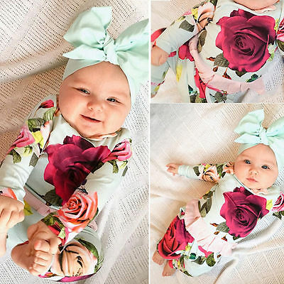US  Newborn Toddler Kids Baby Girl Outfit Clothes T-shirts+Floral Pants 2PCS Set
