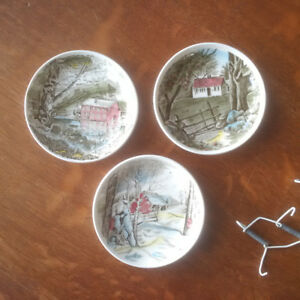3 Johnson Brothers The Friendly Village Butter Pats/Coasters