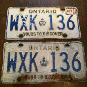 Yours to Discover, Ontario,  a pair,  (car) Licence Plates