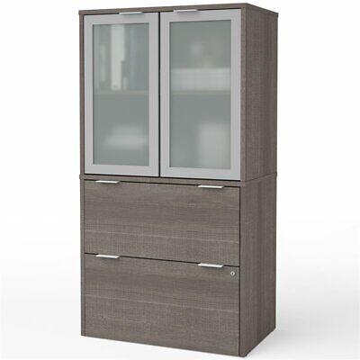 Bestar I3 Plus 2 Drawer Door File Cabinet In Bark Gray