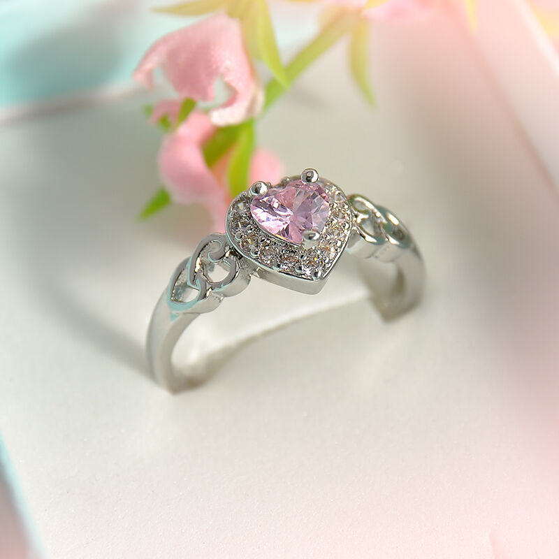 Heart Pink White Topaz Gemstone Silver Plated Fashion Women Ring Size 6/7/8/9