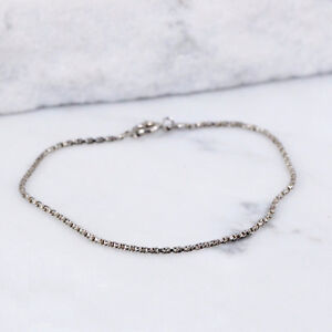 ITALY Sterling Silver 2mm Twisted Box Chain Bracelet