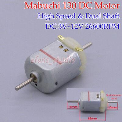 Dc 3v 6v 9v 12v 26600rpm High Speed Dual Shaft Micro Mabuchi Mini 130 Motor Toy