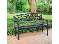 Used steel garden bench furniture black x2