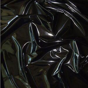SCHWARZ Lackleder mit Latex-Glanz weiche Meterware für Kleid Rock Dessous
