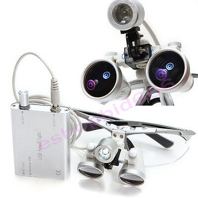 Set Dental Surgical Medical Binocular Loupes 2.5x420mm Led Head Lamp Dentist Fda