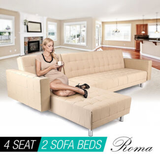 REDUCED - Cream or Brown Lounge Suite w/ Chaise  Double Sofa Bed Wolli Creek Rockdale Area Preview