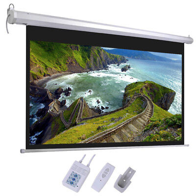 """100"""" Projector Screen 16:9 Projection HD Home Theater Electric Motorized + Remot"""