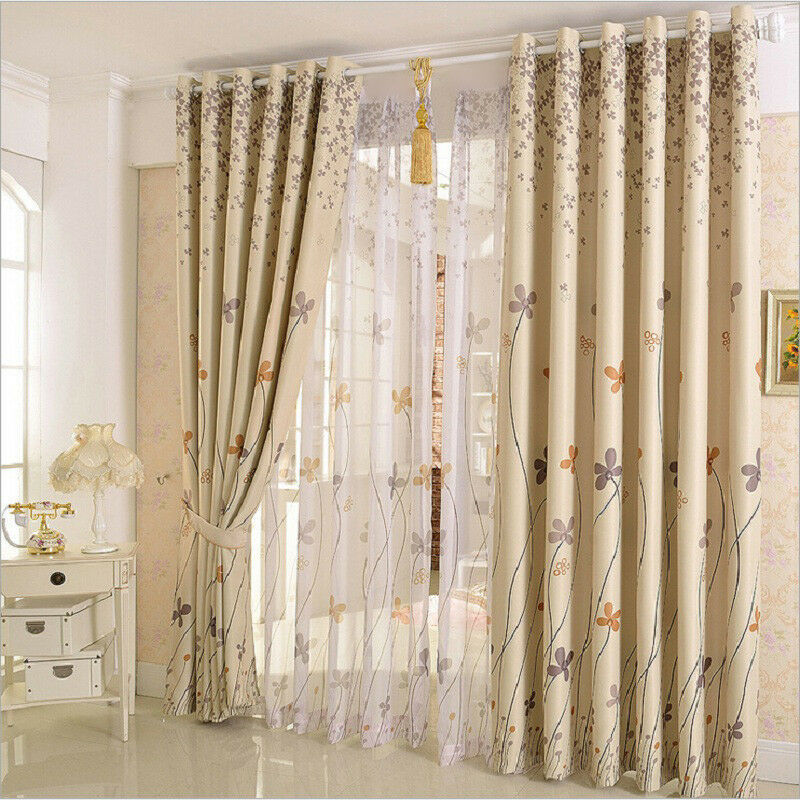 Plant Printed Blackout Curtain Thermal Insulated Blinds Home