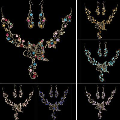 Vintage Women Butterfly Flower Crystal Wedding Necklace Earrings Jewelry Set Hot