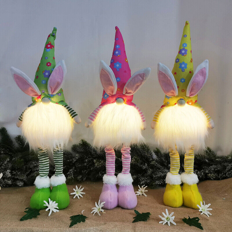 Easter Glow Bunny Gnome Decoration Easter Faceless Doll Easter  Dwarf Illuminate