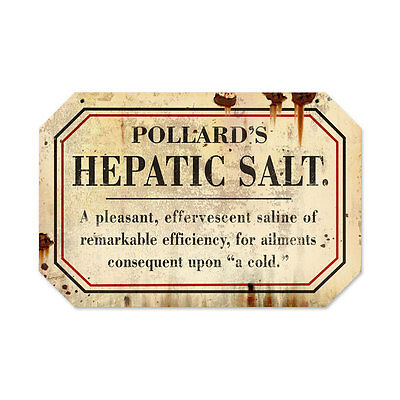 Vintage Style Retro Hepathic Salt Steel Sign 18 x12