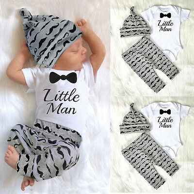 US Infant Baby Boy Short Sleeve Romper + Long Pants +Hat Outfit Clothes 3PCS Top