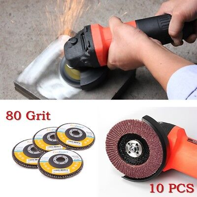 10pcs 4 -12 80 Grit Flap Sanding Grinding Discs 4.5 78 Angle Grinder Wheels