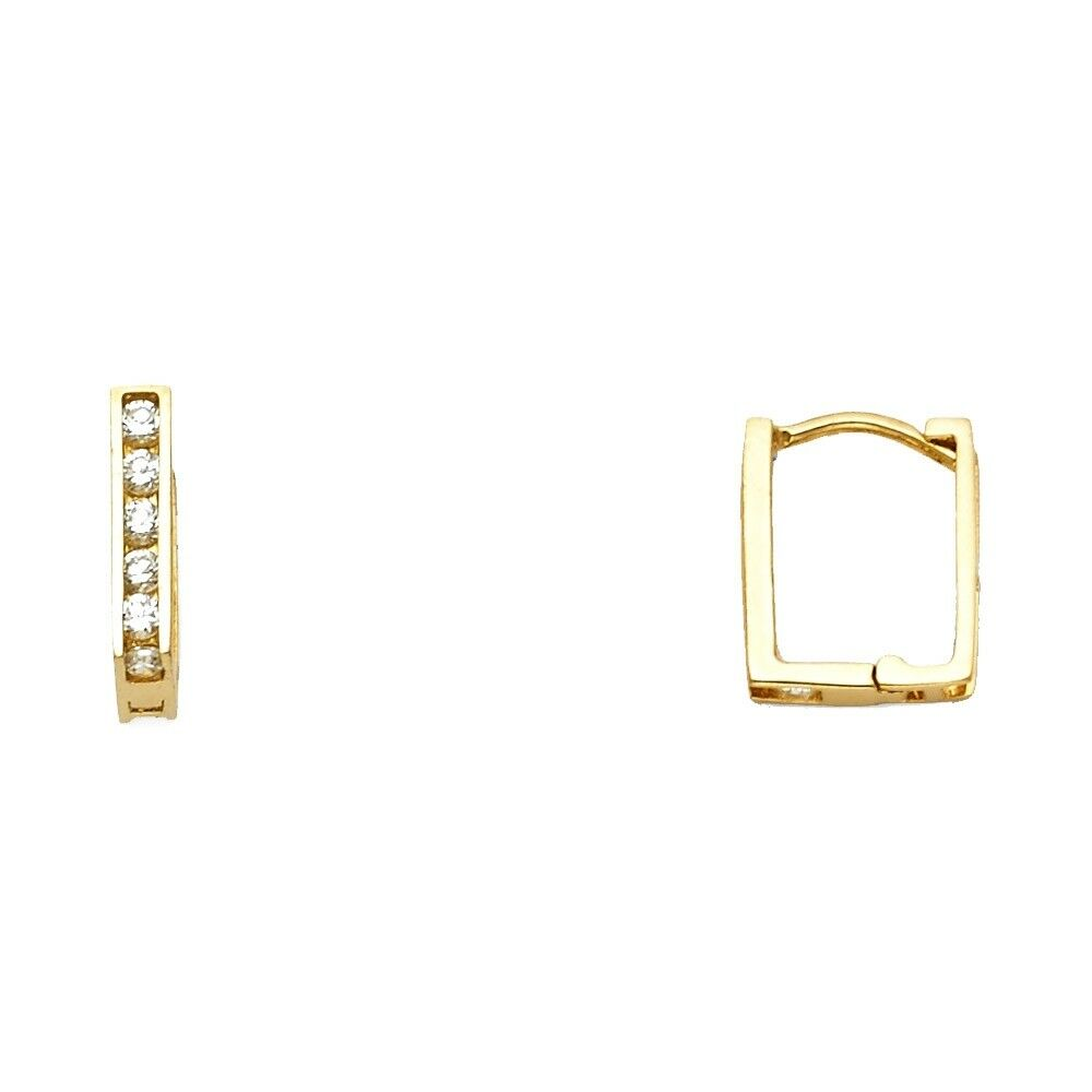 e6a36084df0 Details about Square Hoop Earrings Solid 14k Yellow Gold Huggies CZ Style  Fancy Small Tiny