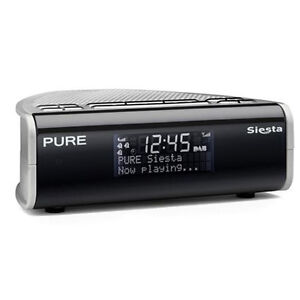 pure siesta dab digital fm bedside alarm clock radio charcoal silver vl 60899 ebay. Black Bedroom Furniture Sets. Home Design Ideas