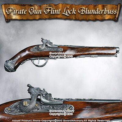 Dragon Naval Pirate Gun FlintLock Blunderbuss Replica Pistol Wood Stock