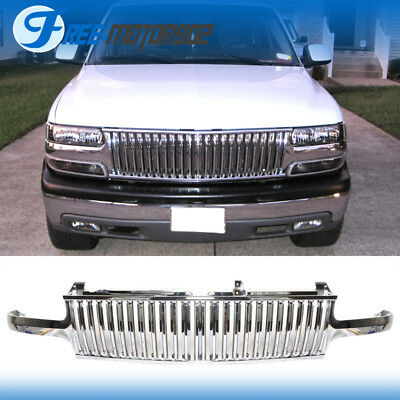 For 99-02 Chevy Silverado 00-06 Tahoe Suburan Chrome Front Grill Grille ABS