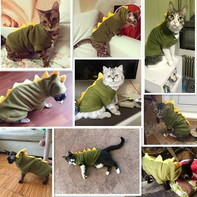 Pet Dog Cat Dinosaur Fleece Coat Costume Dragon Hooded Clothes Puppy Outfit LJ](Dragon Costume Dog)
