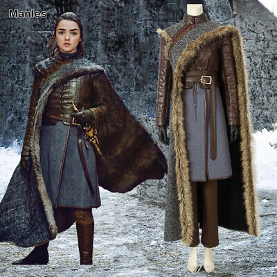 2019 Game of Thrones 8 Costume Arya Stark Cosplay Halloween Fancy Dress Outfits](Arya Game Of Thrones Costume)
