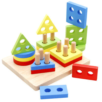 Wooden Geometric Shapes Developmental Puzzle Board Block Educational Toddler Toy ()