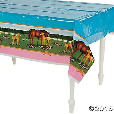 Animal Farm Cover (Mare Horse Farm Tablecloth Animal Table Cover Kids Birthday Party Decoration)