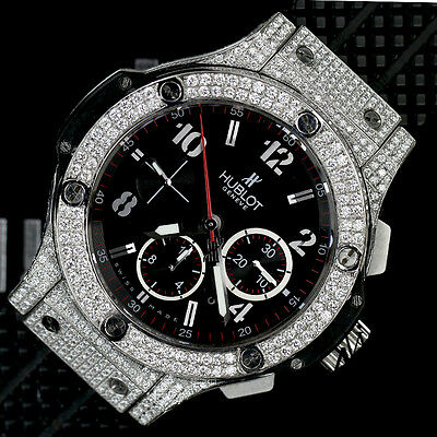 Hublot Big Bang on Rubber Strap Stainless Steel Diamond Watch with Black Dial