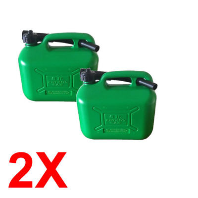 2x 5 Litre Plastic Jerry Can Fuel Unleaded Green Pouring Spout Petrol Container