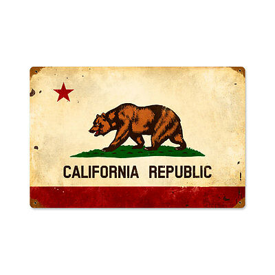 Vintage Style Retro California Flag Steel Sign 18 x12
