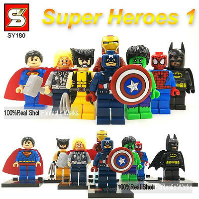 8 pc Marvel Avengers DC Super Heroes Mini Figures Fits Lego New Wolverine Batman