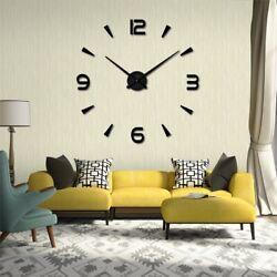 Modern Large Wall Clock 3D Mirror Surface Sticker Big Number Watch DIY Decor US
