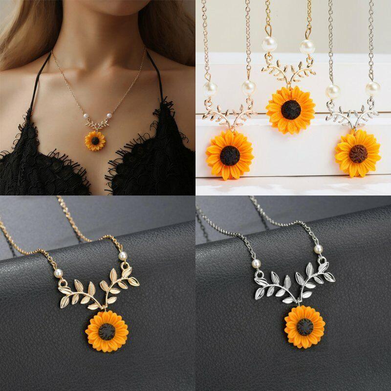 Jewellery - New Fashion Sunflower Pearls Pendant Necklace Choker Chain Women Jewelry Gift
