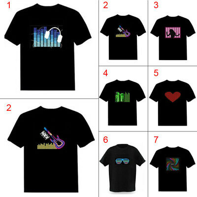 Men Sound Activated LED T-shirt Light Up Down Flashing T-shirts for Party DJ - Flash For Adults
