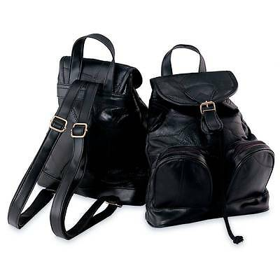 Womens Lambskin Leather Backpack Purse, Small Black Bookbag Style Evening Case