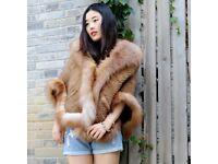 DAYMISFURRY -- Luxury Mink Fur Cape With Fox Fur Trim