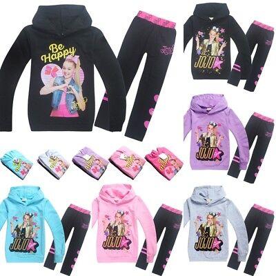 Jojo Siwa Girls Hooded Hoodie Sweatshirt Pants Set Tracksuit Outwear Outfit Coat