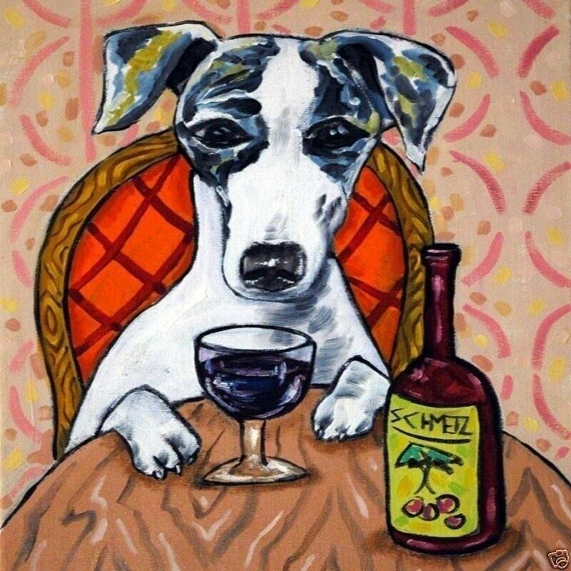 whippet at the wine bar dog art tile coaster