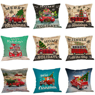 Merry Christmas Sofa Creative Car Throw Cushion Cover Pillow Case Pillowcase 1PC ()