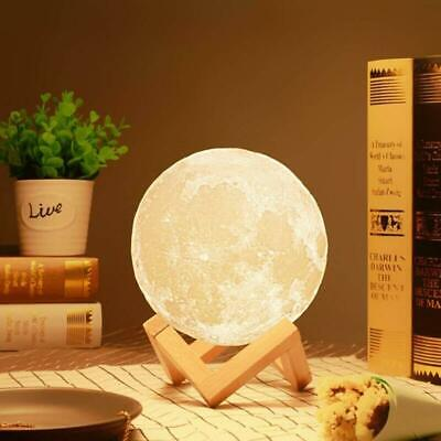 USB 3D Print Moon Lamp Night Light Tapping Color Changing Home Decor Best