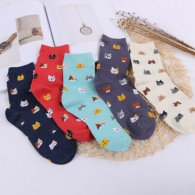 Lolita Girls Cartoon Cat Socks Adult Cute Kitty Ankle Sock 5 Colors - Adult Cartoon Cat