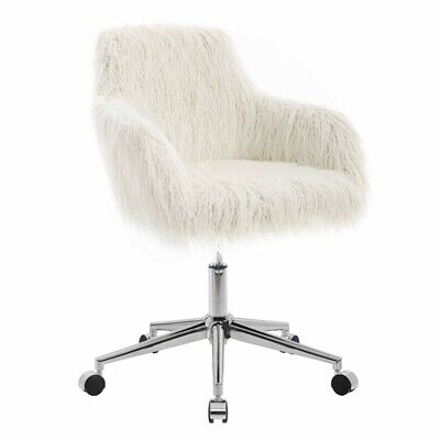 Riverbay Furniture Faux Fur Office Chair In Off White