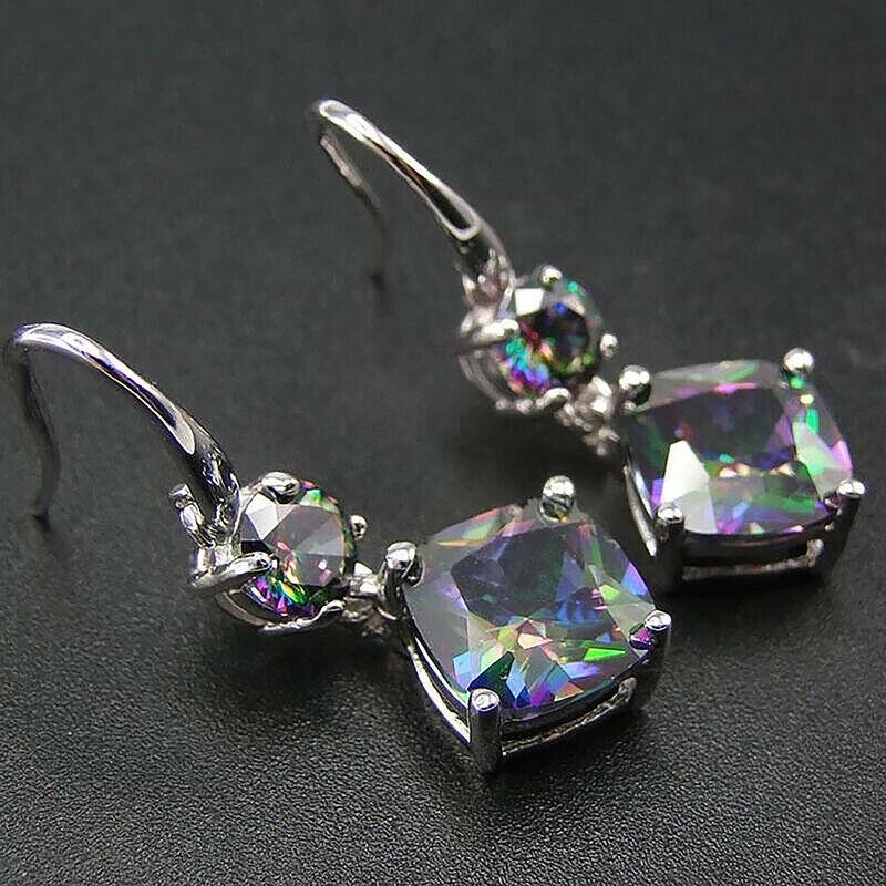 Women Jewelry Mystic Topaz Drop Earrings 925 Silver Earring for Women A Pair/set 1