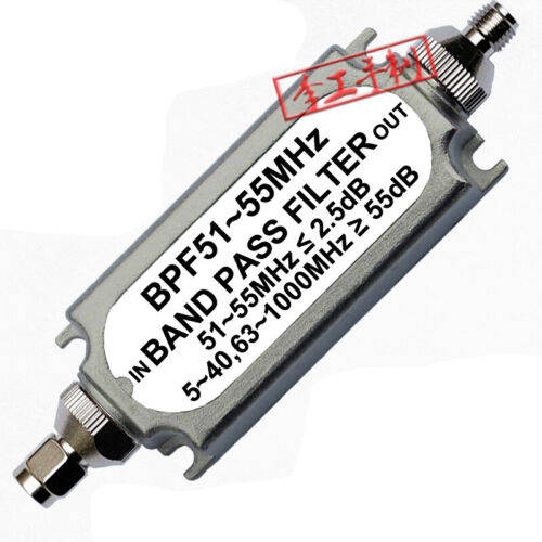 Band Pass Filter BPF 51-55MHz SMA Male Female Connector for Communication System