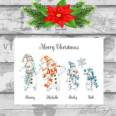 Personalised Christmas Cards x 10 Free Envelopes Family Friends 33 ()