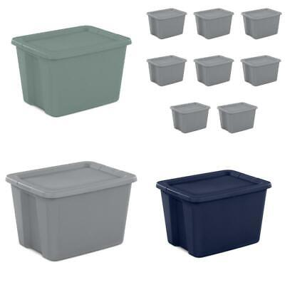Plastic Storage Containers With Lids (8 Plastic Storage Containers Stackable Tote Bins Lids 18 Gal Box Aqua Gray)