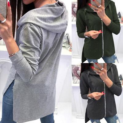 Women Full Zip Up Baggy Sweatshirt Tracksuit Hoodie Casual Tops Plus Size Blouse