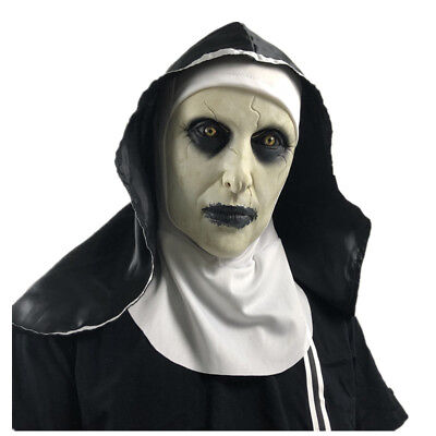 For Roolina The Nun Valak Full Mask Latex Scary Halloween Conjuring 2 Cosplay US (Scary Nun Mask)